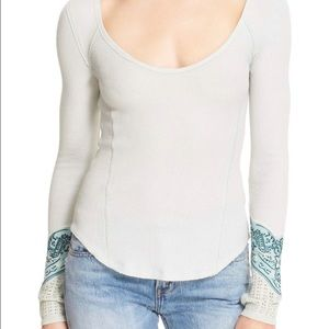 NWT Free People Bandana Cuff Thermal Top Mint